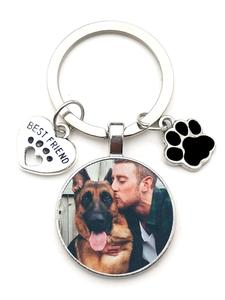 Dog-Photo-Keychain Pendant Souvenir Glass Gift Crystal Custom Love Girl Mini DIY And