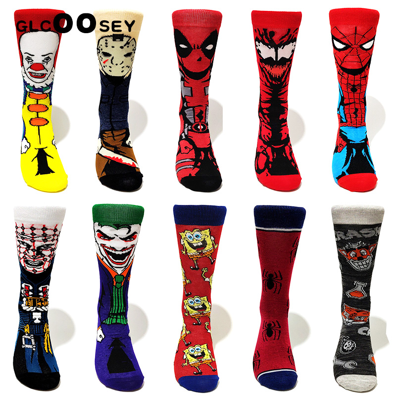 Avengers Cartoon Socks Batman Superman Clown Joker Cosplay Fashion Sock Novelty Funny Casual Men Sock Skateboard Socks