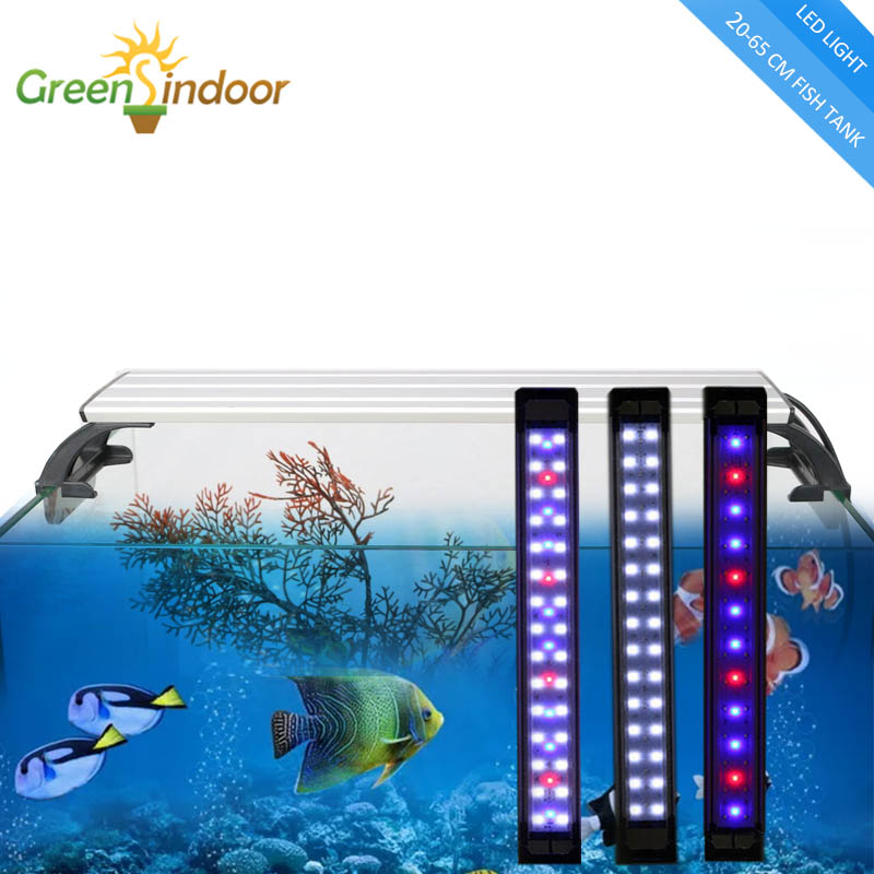 LED Aquarium Light 20-65CM Fish Tank Lamp Luminaria Aquario Aquatic Plant Lights Fishing Led RGB Indoor With Timer And Dimming