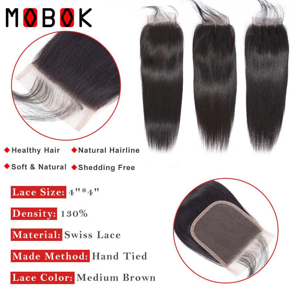 MOBOK, бразильские человеческие волосы, предварительно окрашенные, 613 блонд, прямые, 4*4, на шнуровке, Remy, 100% человеческие волосы, свободная часть с детскими волосами