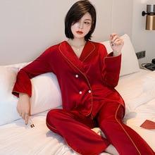 Women's Spring Pure Color Simulated Silk Pajamas Set Red Pij