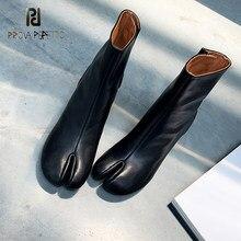 Prova perfetto split-toe botas curtas mulher 2020 outono inverno calcanhar grosso meados de salto sapatos sapatos versátil moda botas na moda