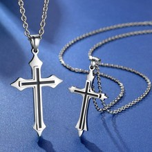 цена на Fashion Stainless Steel Gold Silver Cross Necklace for Women Men Vintage Chain Crystal Pendant Long Necklaces Jewelry Gift