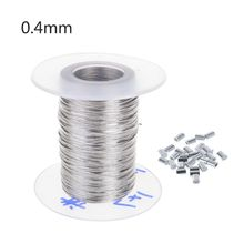 100m Stainless Steel Wire Rope Soft Fishing Lifting Cable with 30Pcs Aluminum Ferrules 0.3mm/0.4mm/0.5mm