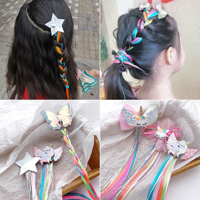 1PCS Girls Dream Colorful Unicorn Butterfly Star Wig Hairpins Children Cute Hair Clips Headbands Barrettes Kids Hair Accessories