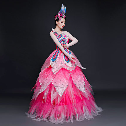 J rose paon fleur pétales fée robe de bal robe longue robe de bal studio/scène/refrain/robe victorienne