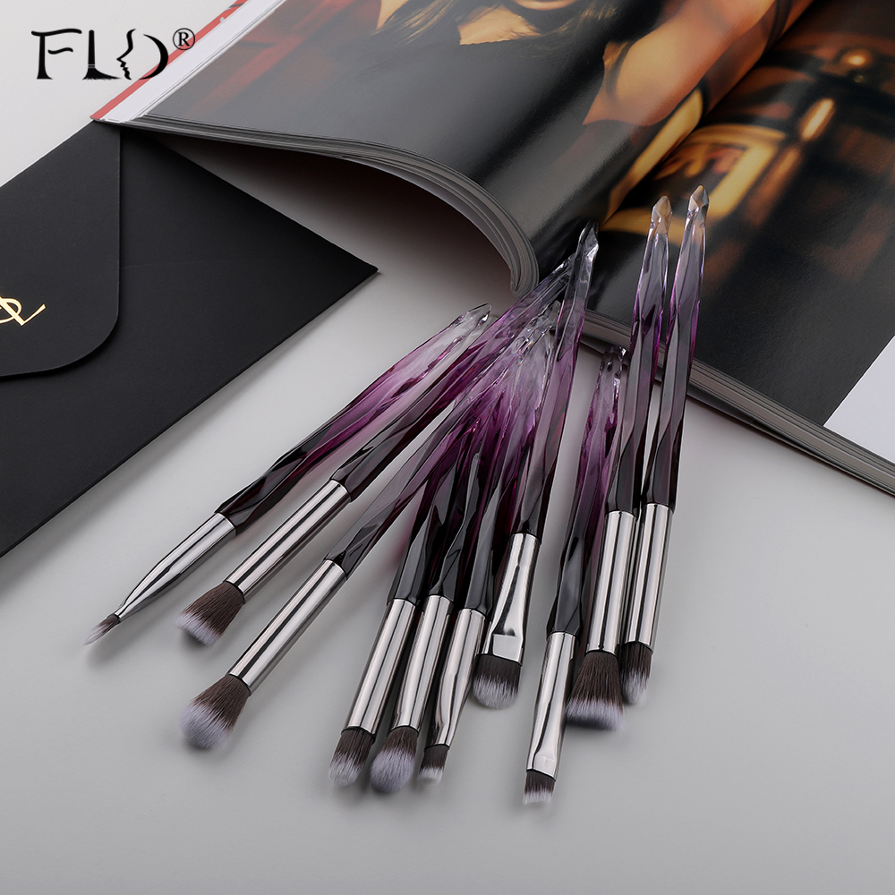 FLD 10Pcs Makeup Brush with Soft Bristles Suitable for Eye Shadow Lipstick Eyebrow and Eyeliner