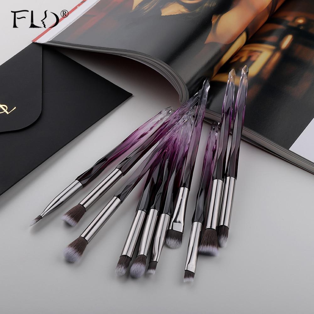 FLD 10Pcs Eye Brush Mini Diamond Makeup Brush Set Eye Shadow Lip Eyebrow Brushes High Quality Professional Lip Eyeliner Tools(China)