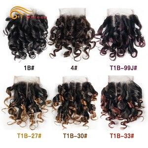 Htonicca Hair 4x4 Closure Brazilian Curly 6 Inch Human Hair Closure 1B 27 #4 30 33 99J Ombre Honey Blonde Color Three Part(China)