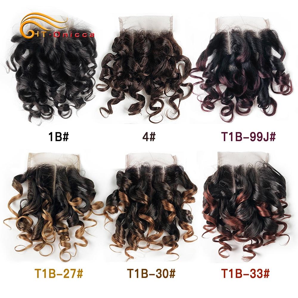 Htonicca Hair 4x4 Closure Brazilian Curly Human Hair 1B 27 #4 30 33 99J Ombre Honey Blonde colored Three Part Closure