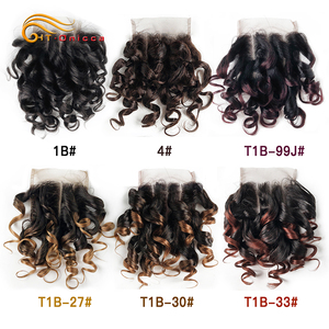 Htonicca Hair 4x4 Closure Brazilian Curly 6 Inch Human Hair Closure 1B 27 #4 30 33 99J Ombre Honey Blonde Color Three Part(China)