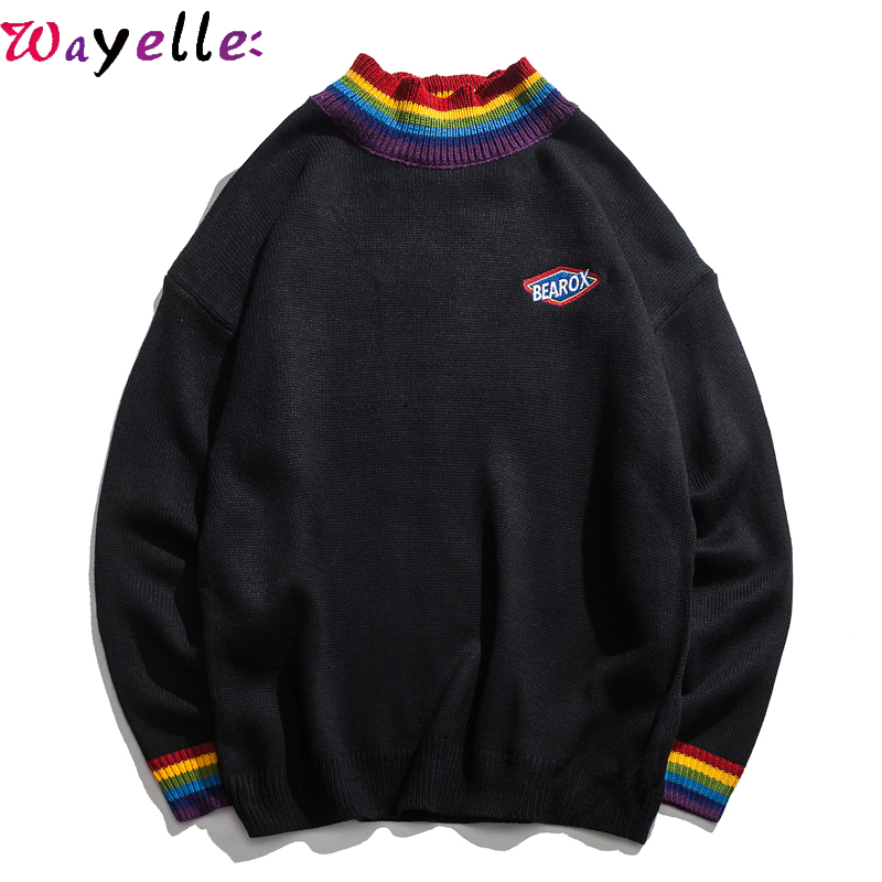 Men Sweaters 2018 Winter Loose Rainbow Collar Pullovers Sweater Men High Street Sweater Black White Ugly Christmas Sweater Men