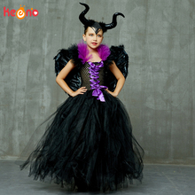 лучшая цена Maleficent Black Gown Tutu Dress with Deluxe Horns and Wings Girls Villain Fancy Dress Kids Halloween Cosplay Witch Costume