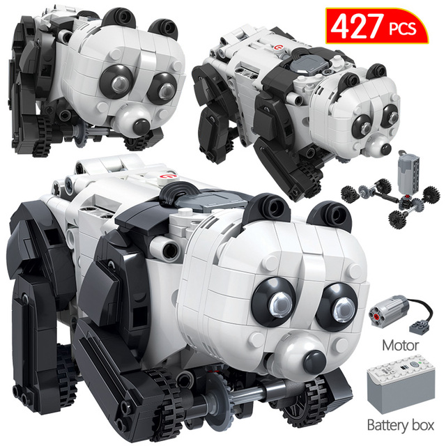 427PCS Creative Technology Animal Building Block Technic Electric Panda Robot Bricks Toys Christmas Gift for Children