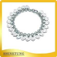 1: 1 S925 Heart Bracelet, Classic Fashion Multi Heart Pendant Bracelet, logo women jewelry holiday gift. classic heart pendant