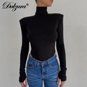 Dulzura Solie Women Backless Bodysuit Long Sleeve Shoulder Pad Turtleneck Bodycon Sexy Party Elegant Autumn Winter Body Basic