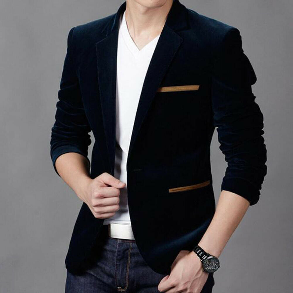 Fashion Stylish New Jacket Formal One Button Suit Velvet Hot Men's Business Blazer Fit Wedding Button Slim Coat
