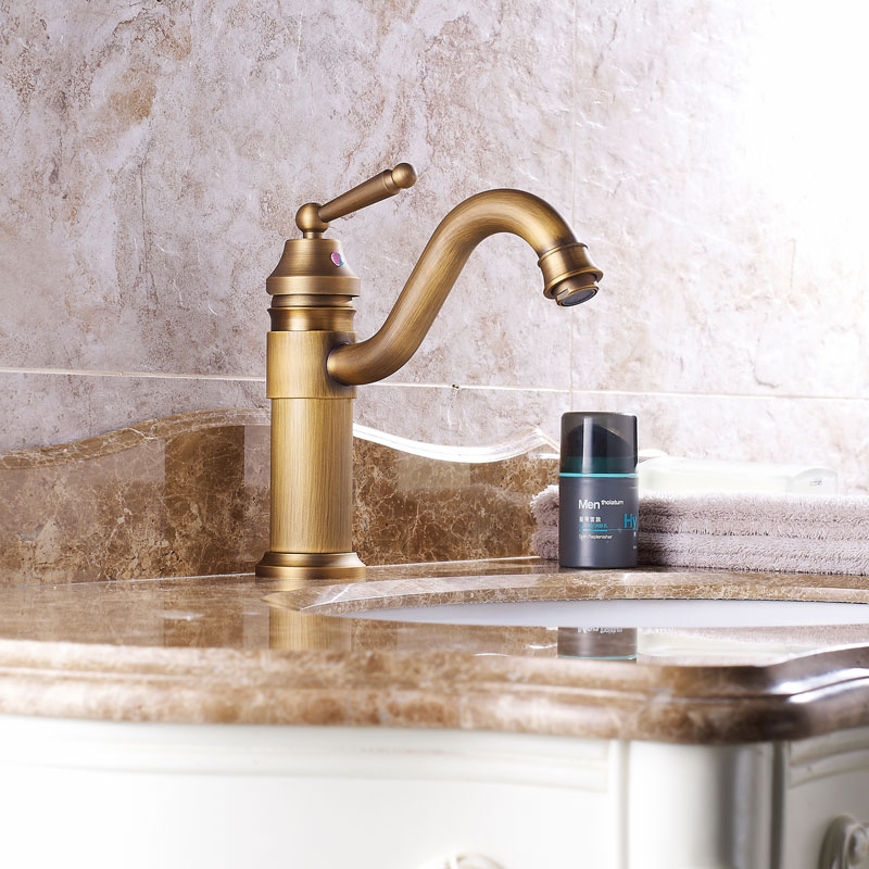 Bathroom Antique Bronze brass Faucet Tall Vessel Sink Faucets Mixer Hot and Cold Water Tap Antique Bronze Finished