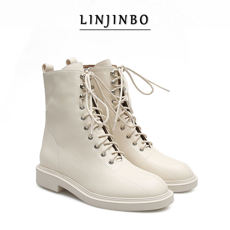 2020 Lace-up Ankle Boots Women Round Toe Casual Flat Short Boots Ladies Chic INS Style Handsome Women Shoes