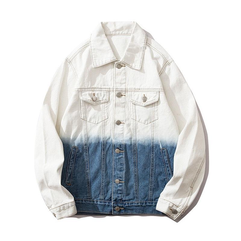 Mcikkny High Street Gradient Color Jeans Jackets Men Letter Graffiti Denim Jackets For Male Streetwear (14)