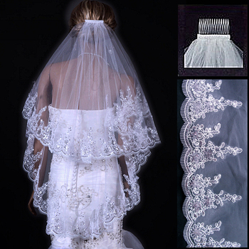 Eudress Two Layers White Ivory Wedding Veil Short Tulle Veils with Comb Wedding Accessories Bridal Veils with Sequins eudress two layers white ivory wedding veil short tulle veils with comb wedding accessories bridal veils with sequins