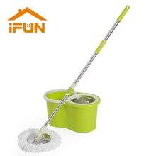 IFun spin Mop & bucket DOBLE drive con 2 uds. Cabezas de mopa de microfibra, sistema de limpieza de suelo, mango de metal fácil de escurrir