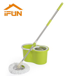 Image 1 - iFun spin Mop & bucket double drive with 2pcs microfiber mop heads floor cleaning system easy wring metal handle