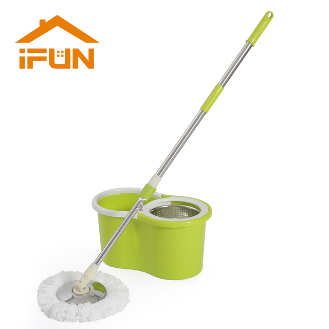 iFun spin Mop & bucket double drive with 2pcs microfiber mop heads floor cleaning system easy wring metal handle