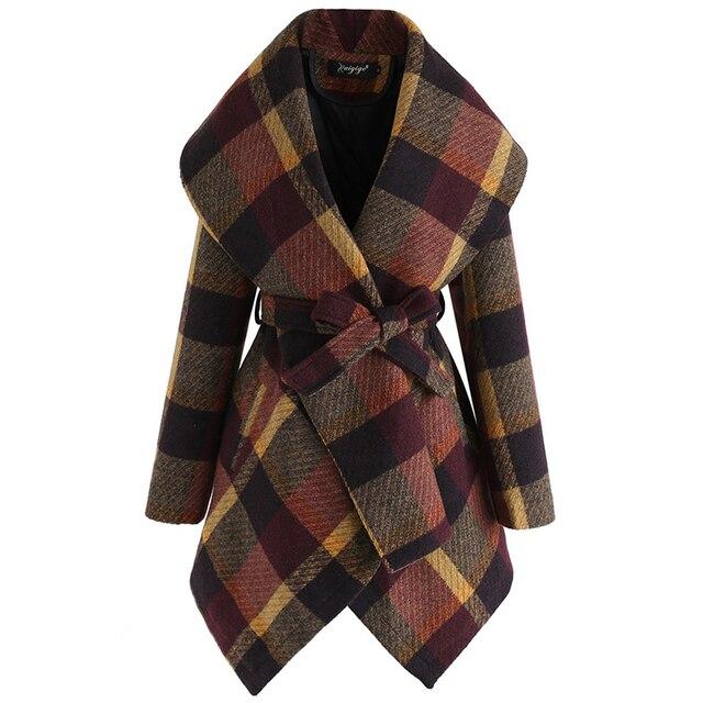 FY VANLAND Autumn Winter Women Medium Long Sleeve Woolen Coats Fashion Vintage Loose Plaid Belted Jackets Women's Windbreaker 5