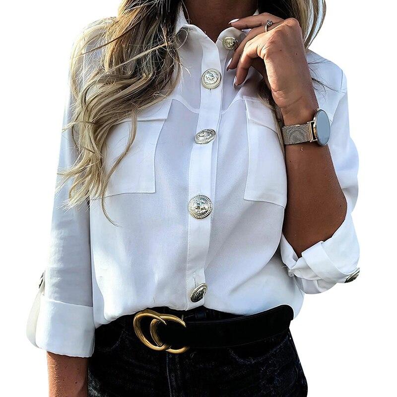 Camisa feminina com blusa de bolso escritório senhora blusa chemisier femme d30 militar superior das senhoras casual botão blusa