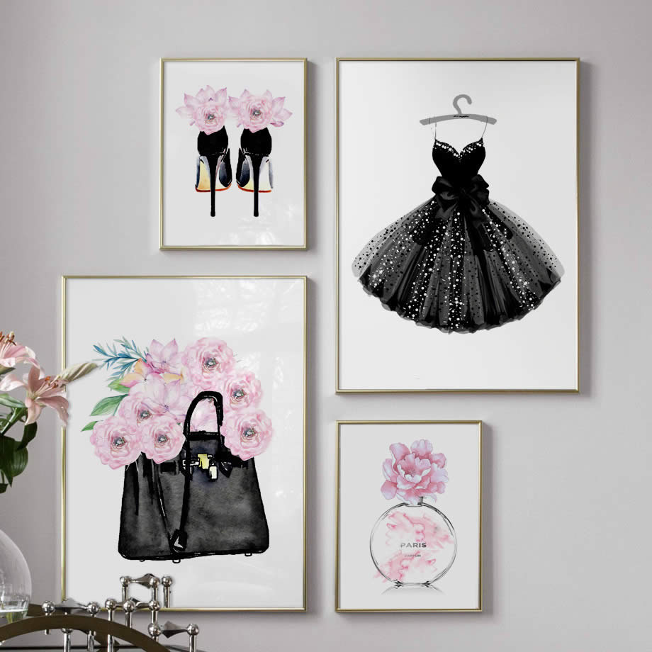 Fashion Dress Handbag <font><b>Paris</b></font> Perfume Wall Art Canvas Painting Nordic Posters And Prints Wall Pictures For Living Room Decor image