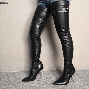 Olomm Neue Frauen Oberschenkel Hohe Stiefel Sexy Stiletto High Heels Stiefel Spitz Wunderschöne Schwarz PARTY Schuhe Frauen Plus UNS größe 5-15