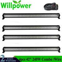 4 แพ็คจัดส่งฟรี combo beam 42 นิ้ว offroad 240w 4x4 led ขับรถรถบรรทุก led light bar 12 โวลต์