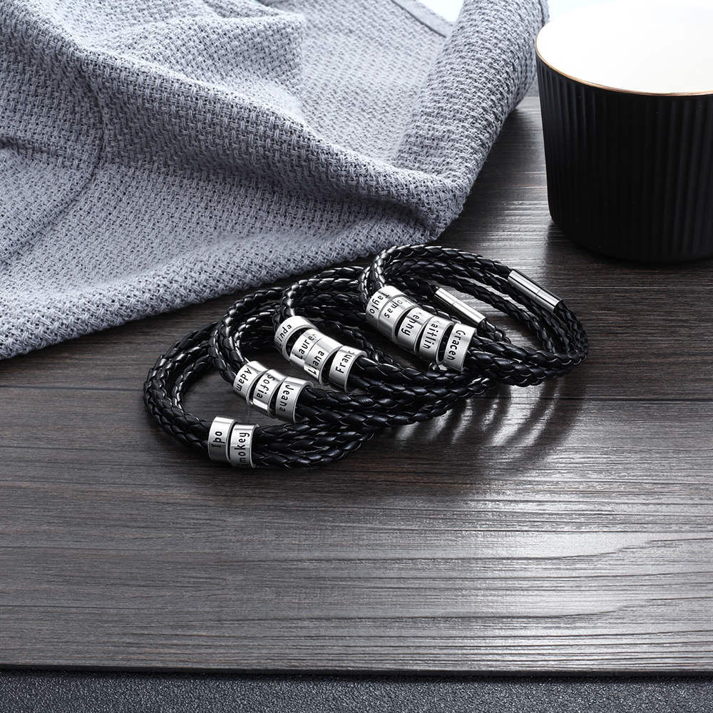 JewelOra Personalized Family Names Men Bracelet with Custom Beads Black Multilayer Leather Charm Bracelets for Men Accessories
