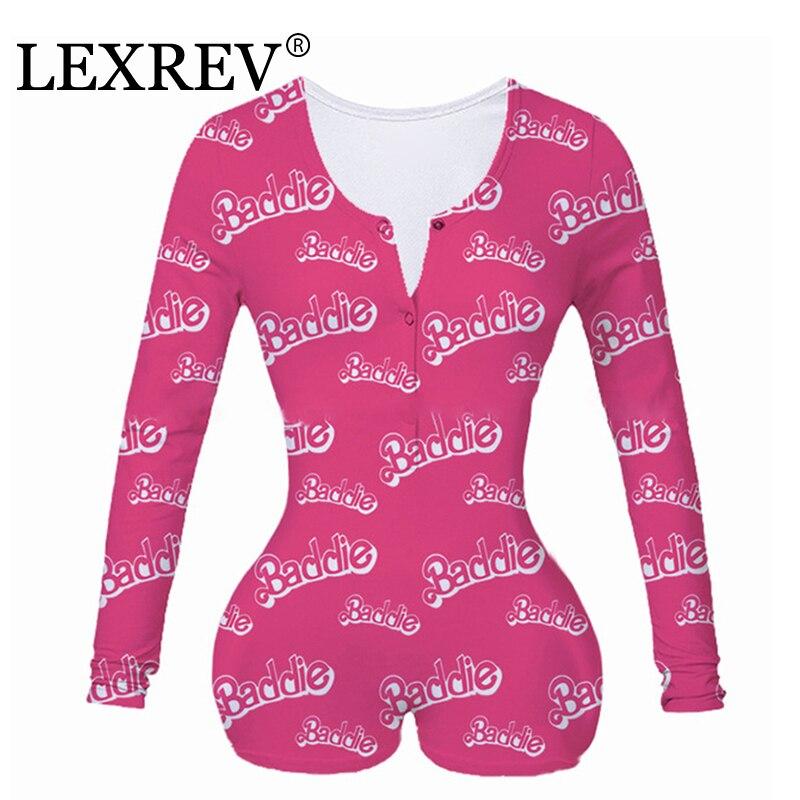 Yes Sexy Daddy Baddie Onesies Women Deep V-neck Bodycon Sleepwear Jumpsuit Shorts Romper Leotard Long Sleeve Buttons Bodysuit