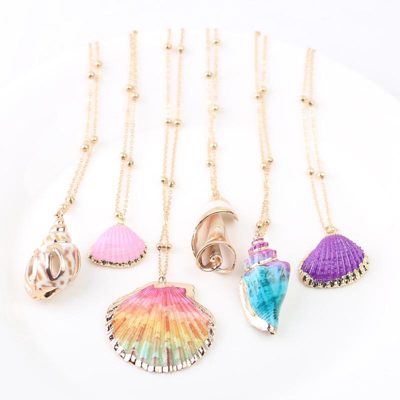 2020 Boho Conch Shell Necklace Shell Gold Shell Chain Necklace Women Seashell Choker Necklace Pendants Jewelry Bohemian Female