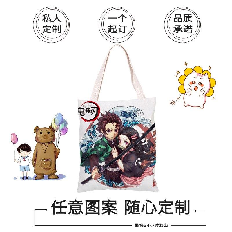 Demon Slayer: Kimetsu No Yaiba Kamado Tanjirou Eco Bag Anime Single-shoulder Canvas Bag Creative DIY Carry Bag