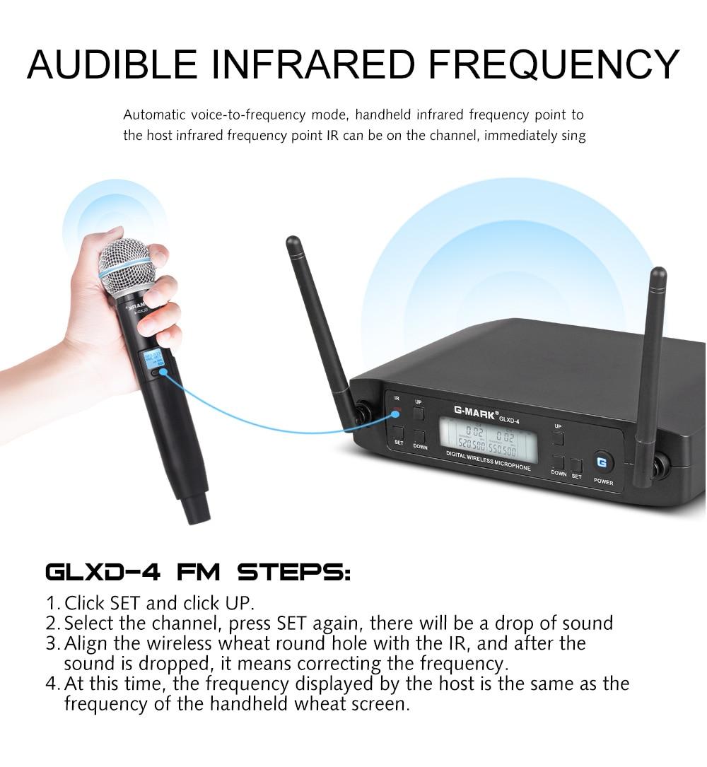 Микрофон Беспроводной G-MARK D4 Профессиональный 2 Каналы UHF Системы динамический микрофон автоматической частотой 80 м для вечерние этап хозяи...