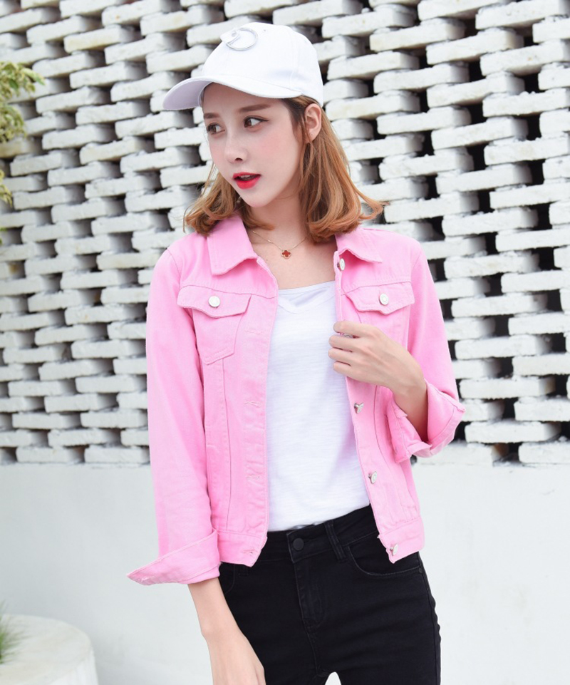 Ha39c1426237549d8a5c8649863672366f Jeans Jacket and Coats for Women 2019 Autumn Candy Color Casual Short Denim Jacket Chaqueta Mujer Casaco Jaqueta Feminina