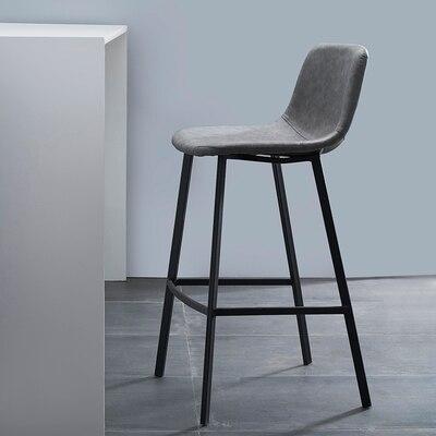 Nordic Modern Simple Iron Bar Chair Fashion Front Desk Bar Chair High Foot Backrest Single Retro Home High Stool