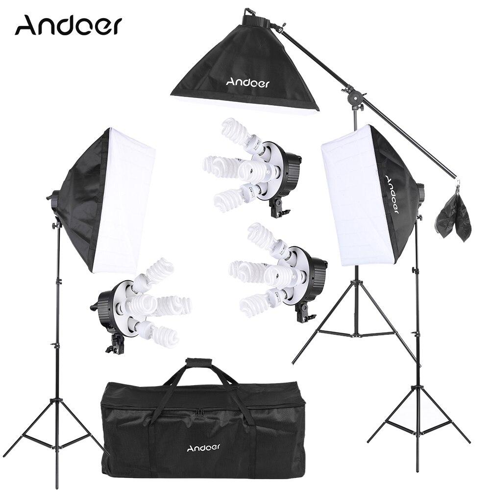 Andoer Photo Studio vidéo Softbox Kit d'éclairage équipement Photo 15*45W ampoule 3*5in1 prise d'ampoule 3 * Softbox 3 * support de lumière etc