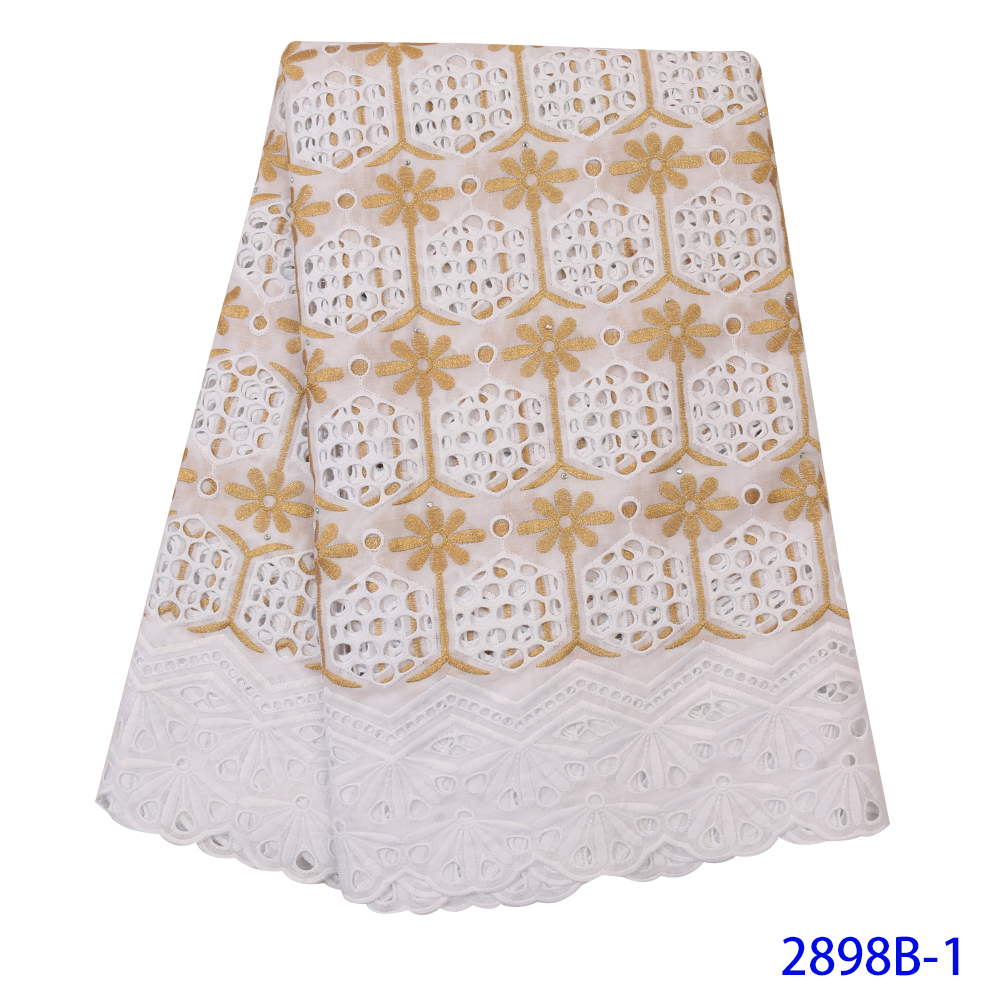 Swiss Voile Lace In Switzerland High Quality Dry Lace Fabric New 100% Cotton Lace With Stones Holes Design For Dresses KS2898B