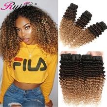Colored Brazilian Hair Deep Wave Bundles 1B 4 27 Ombre Human