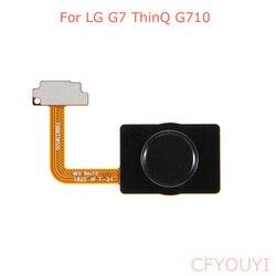 ل LG G7 ThinQ G710 الرئيسية زر مفتاح بصمة فليكس كابل إصلاح جزء أسود اللون