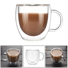 Double-layer 200ML Glass Heat Resistant with Handle Coffee Cup High Borosilicate Transparent Innovative Receptacle