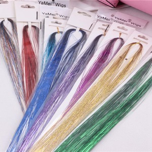 Tinsel Sparkle 100 Strands Hair Highlights Party Extensions Holographic Glitter Colorful laser silk seamless colorful shiny silk