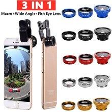 Fisch Telefon Objektiv Generisches Kamera für Smartphone Weitwinkel Fisch Auge Objektiv und Clip Makro Kamera Sets 3 In 1 unterstützung iPhone Samsung