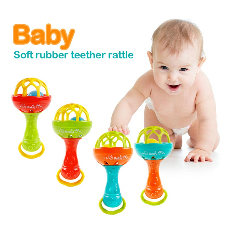 Fun Games Baby Soft Rubber Teether Rattle Rod Multi-functional Baby Rattle Stick With Teether Baby Hand Holding Toy