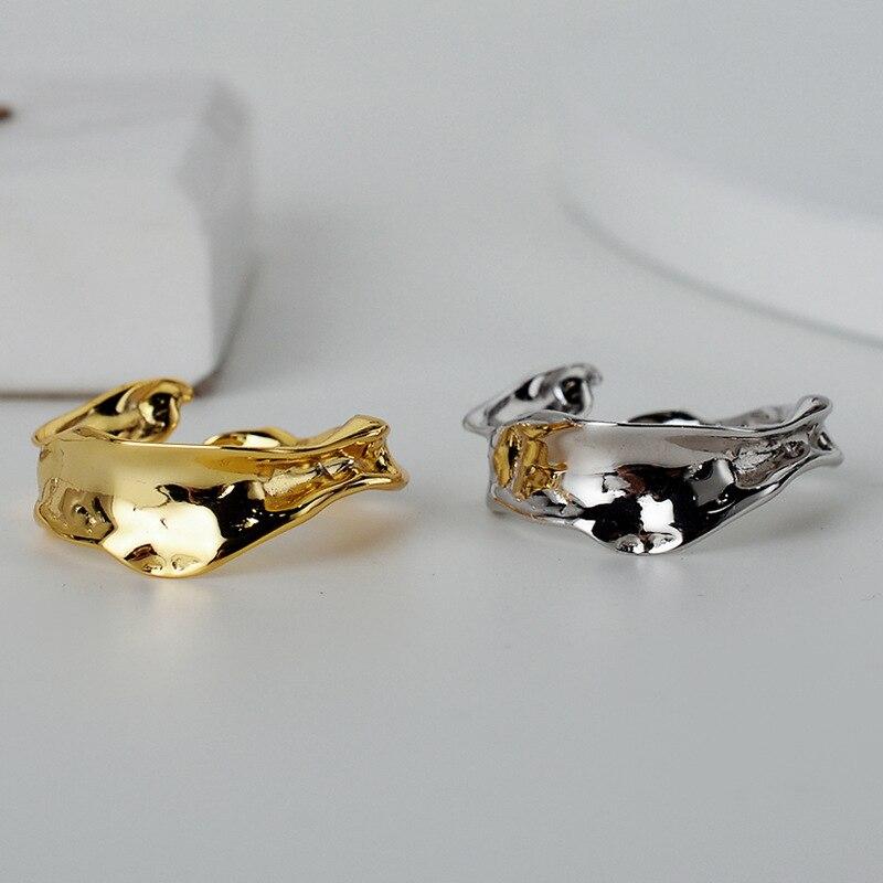 Silvology sterling 925 prata irregular aberto anéis forma dos dentes elegante japão coreia estilo anéis para feminino minimalista jóias presente