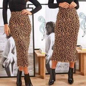 Women Leopard Print Midi Skirt High Waist Summer Party Cocktail Pencil Skirt